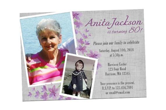 printable 75th birthday invitation for