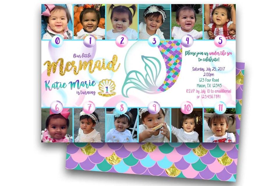 Mermaid 1st Birthday Invitations 12 Monthly Photo Girl 1st Etsy