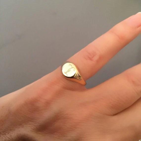 Am Kleinen Finger Ring Siegelring Gravierte Ring Etsy