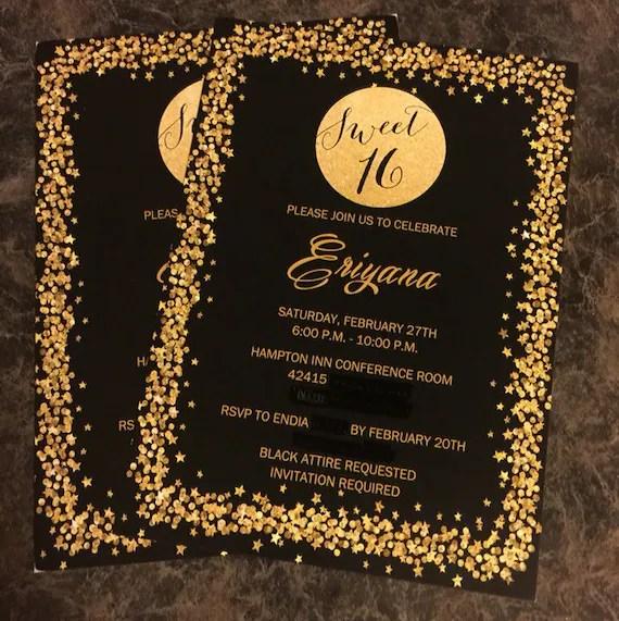 printed sweet sixteen invitation sparkle invitation 16th birthday invitation birthday party invitation girl birthday party gold black