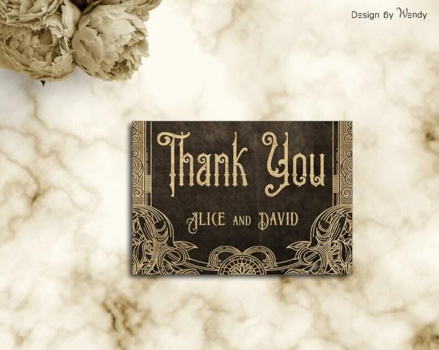 Victorian wedding invitation gold and brown, printable gothic wedding invite set, steampunk wedding invitation SP1.