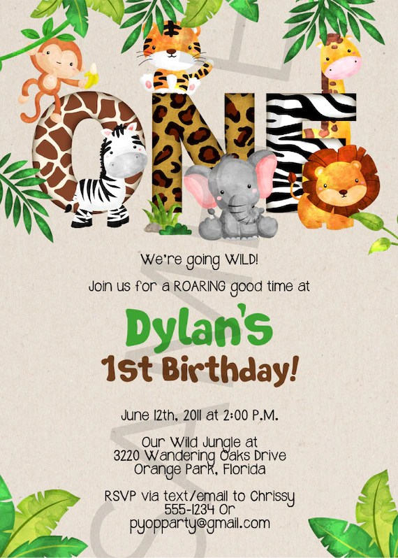Jungle 1st Birthday Party Invitation Template Jungle Animals Etsy