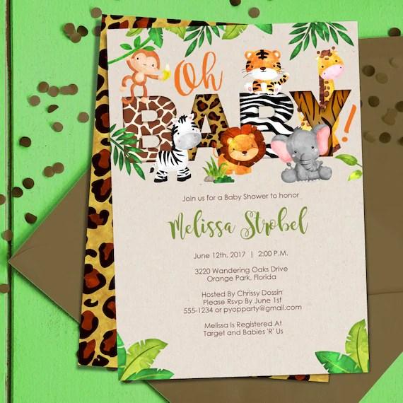 Jungle Baby Shower Invitation Jungle Animals Invite Safari Themed Baby Shower Baby Jungle Animals Pdf Template Diy Create Today