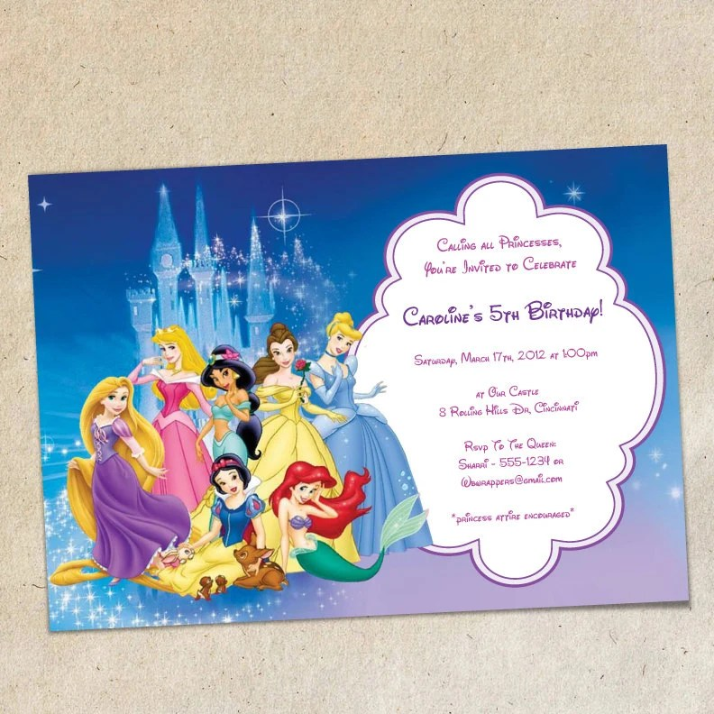 Disney Princesses Party Invitation Template Instant Download You Personalize Print