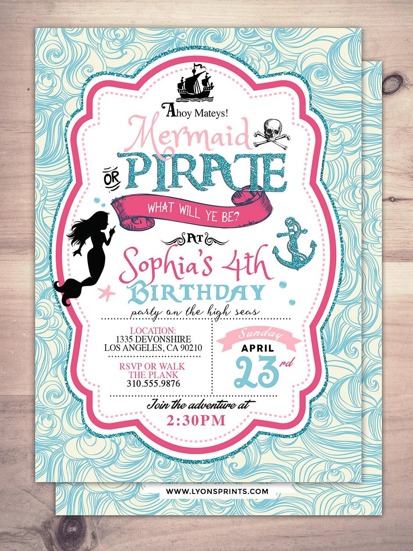 mermaid invitation pirate and princess