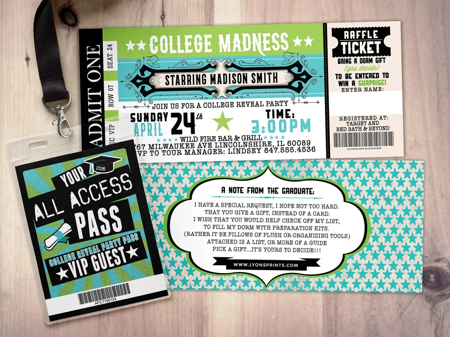 college reveal party concert ticket