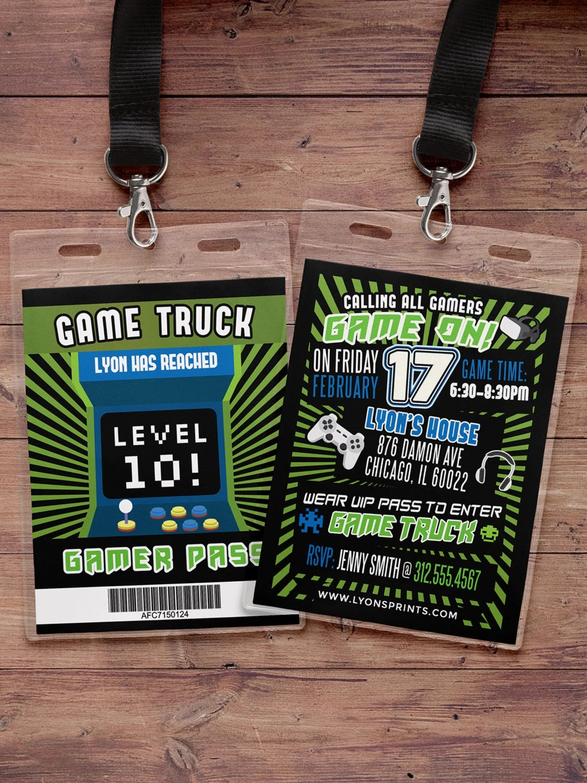 video game invitation game truck