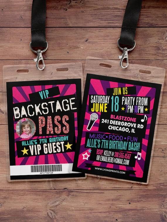 birthday invitation rock star vip