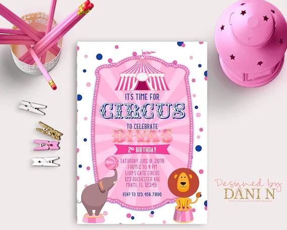 girl circus birthday invitation