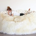 Huge Bean Bag Bed Creamy White Sheepskin Bean Bag Sheepskin Pouf Fur Bean Bag Giant Bean Bag Furry Bean Bag Bean Bag Beanbag