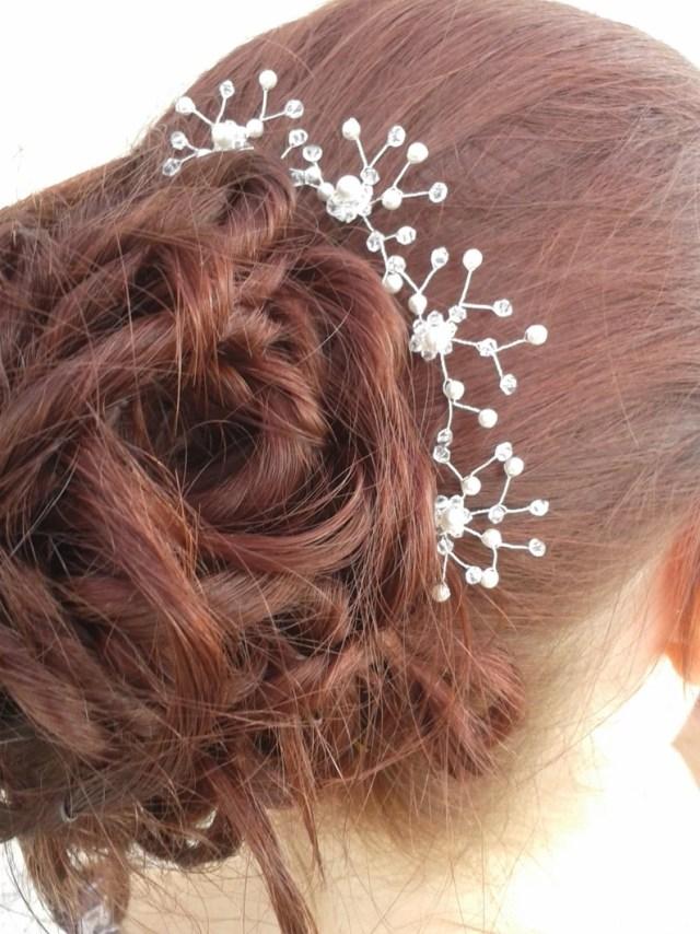 bridal wedding hair pins. a set of handmade swarovski crystal and pearl bridal hair grips bobby curby slide. uk bride bridesmaids accessory