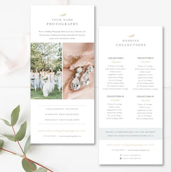 Rack Card Template For Photographers Wedding Photography Price List Psd Pricing Guide Templates Photoshop Template Instant Download