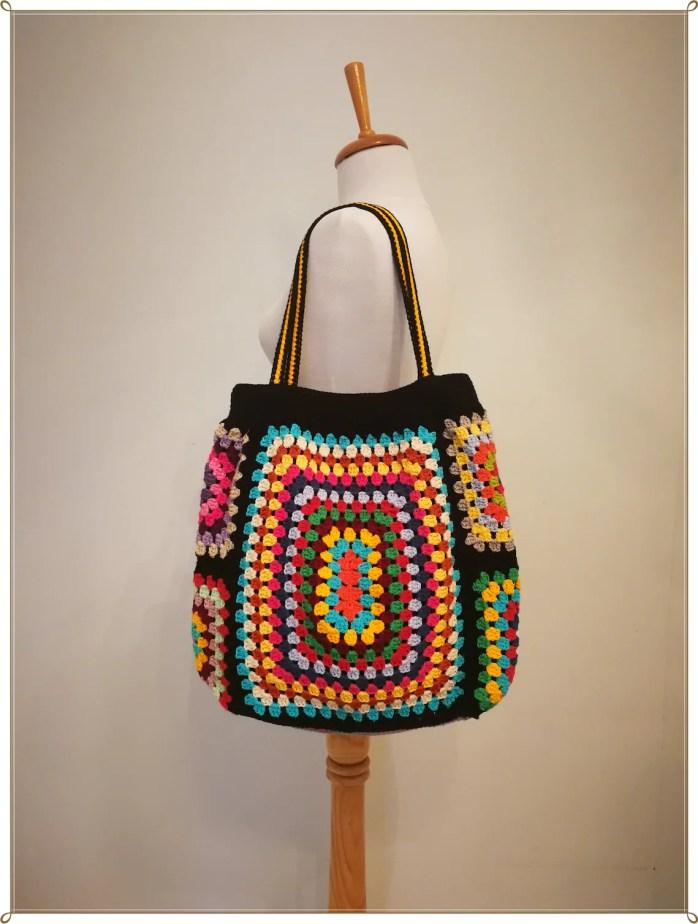 Crochet Bag Granny Square Bag Rainbow Bag Boho Bag Hippie image 0