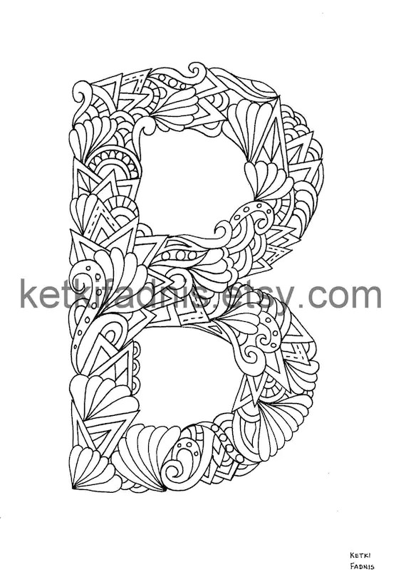 Letter B Coloring Page Instant Pdf Download Alphabet Etsy
