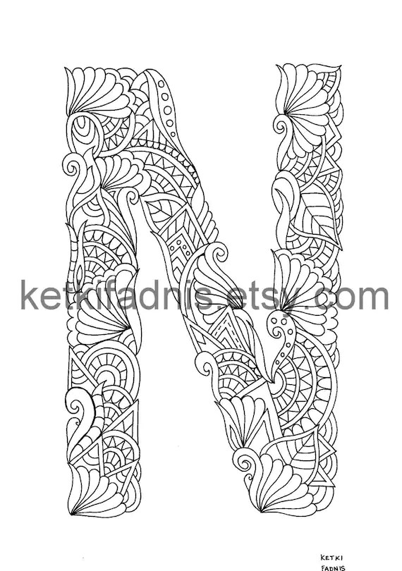 items similar to letter n coloring page  instant pdf