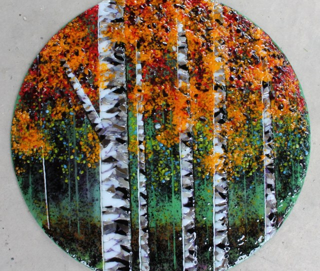 Fused Glass Mosaic Art Wall Hanging Trees Landscape Birches Aspen