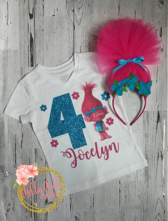Girls Trolls Birthday Shirt Toddler Birthday Princess Poppy Etsy