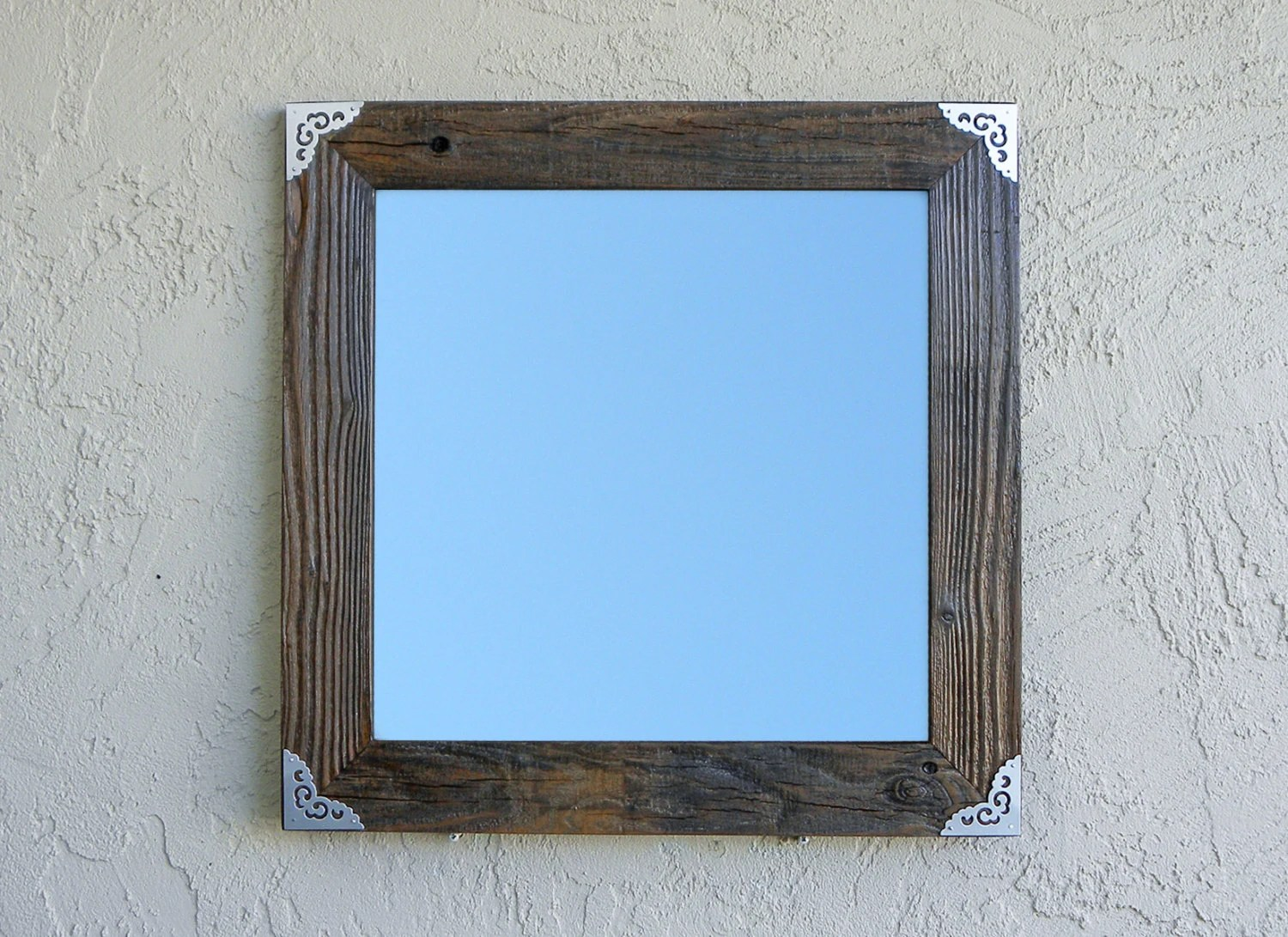 Reclaimed Wood Mirror With Silver Metal Corners. Rustic