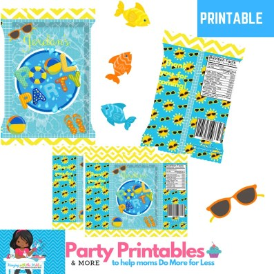 Summer Pool Party - Custom Printed Chip Bags-Treat Bags