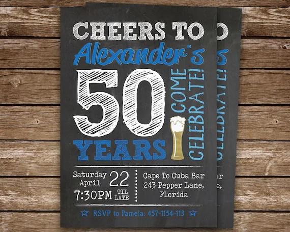 50 Compleanno Invito Uomo Cheers A 50 Anni Compleanno Invito Invito Festa Di Compleanno Per Adulti Stampabile 40 50 60 70 Compleanno