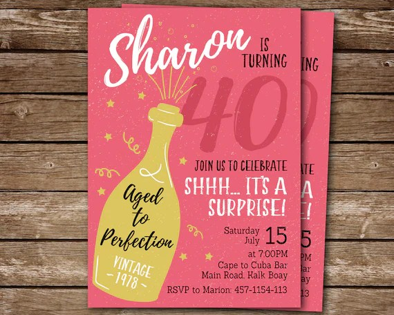 surprise 40th birthday invitation for