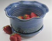 Berry Bowl, Berry Colander, Ceramic Berry Bowl Strainer, Fruit Bowl,  Wheel Thrown, Blue, Handmade, In Stock, Ready to Ship, Free Shipping