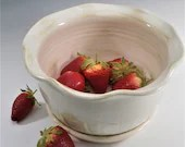 Berry Bowl, Berry Colander, Ceramic Berry Bowl Strainer, Fruit Bowl,  Wheel Thrown, White, Handmade, In Stock, Ready to Ship, Free Shipping