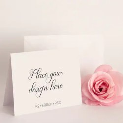 A2 Greeting Card Mockup Horizontal Invitation Mock Up 5 5 X Etsy