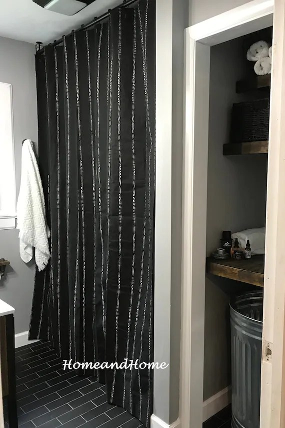 shower curtain long shower curtain extra wide shower curtain custom shower curtain fabric shower curtain black white stripe 72 x 84 108