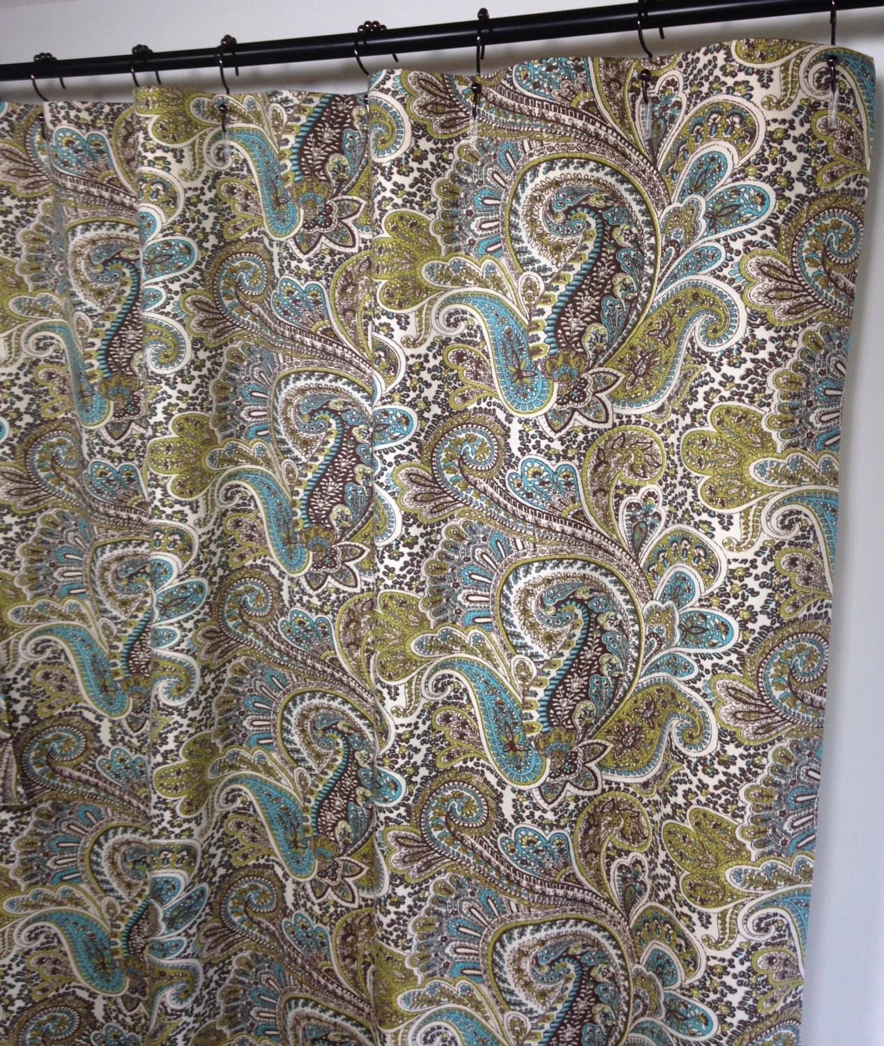 shower curtain paisley shower curtain natural aqua blue brown extra long shower curtain brown shower curtain custom shower curtain