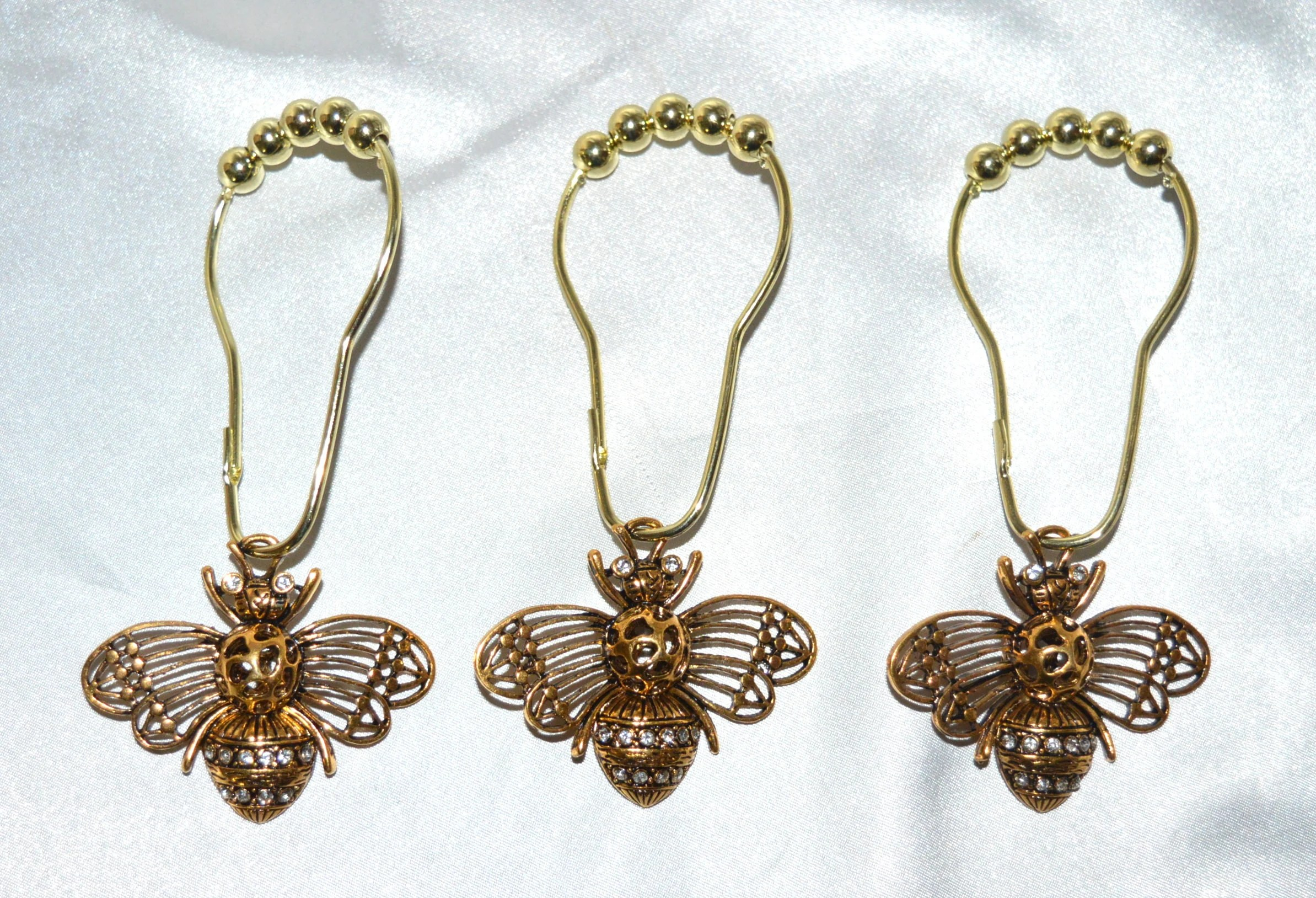 Gold Bee Shower Curtain Hooks Set Of 12 Xl Antique Gold W Clear Rhinestones Shabby French Cottage Chic French Country Garden