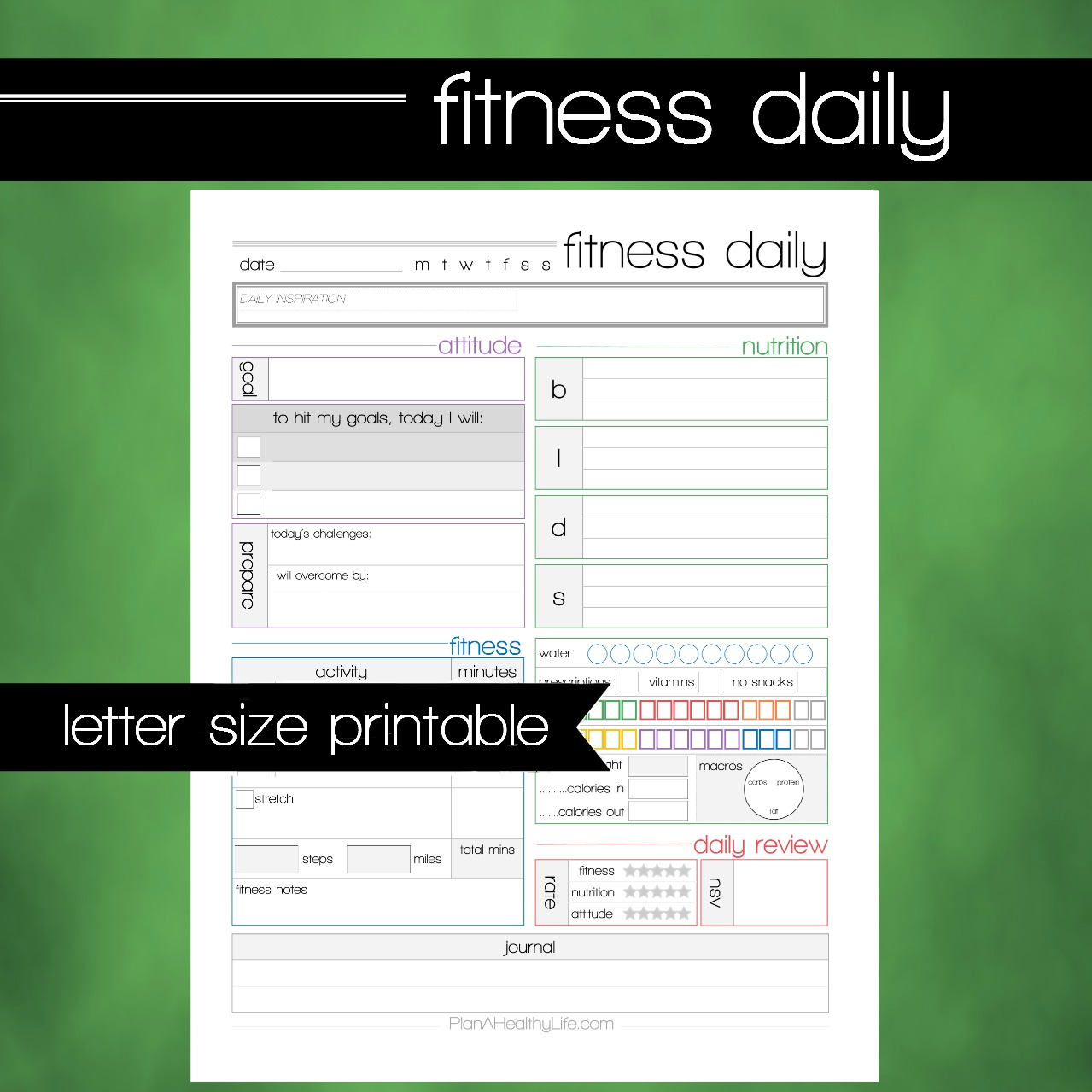 Printable Fitness Amp Health Daily Tracking Worksheet 8 5x11