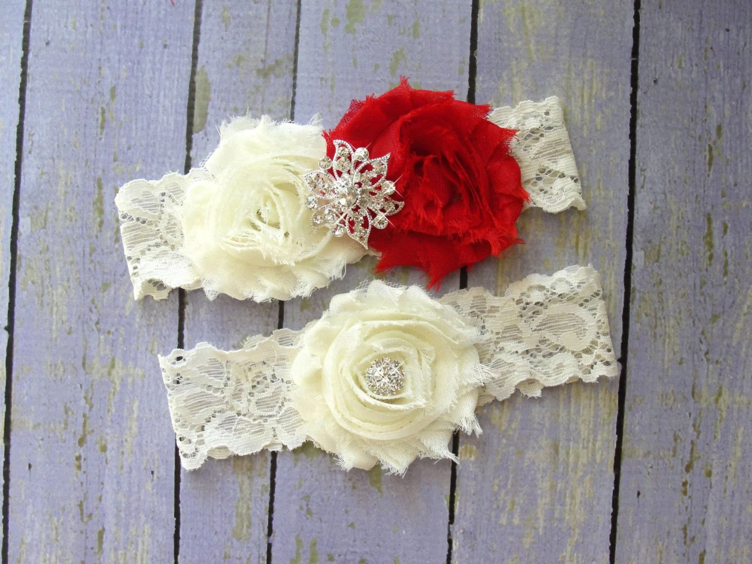 Garter Wedding Red Garter Set Ivory Garter Custom Garter