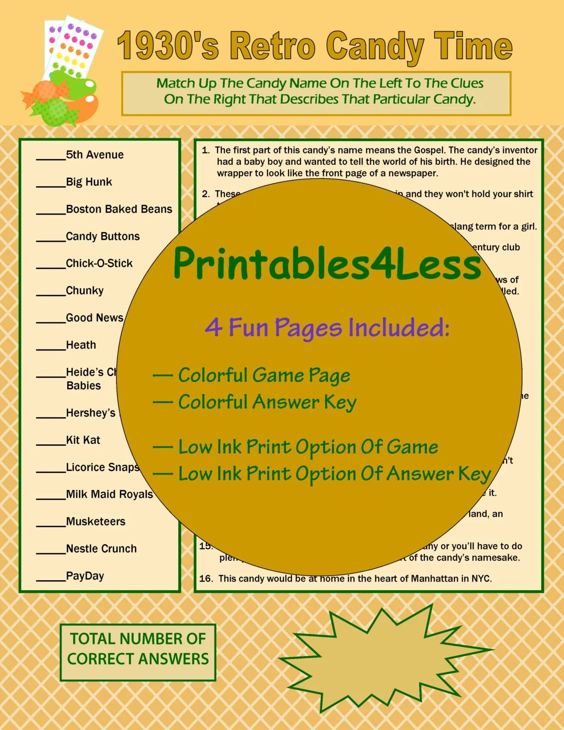 S Candy Candy Bar Game Candy Questions Printable