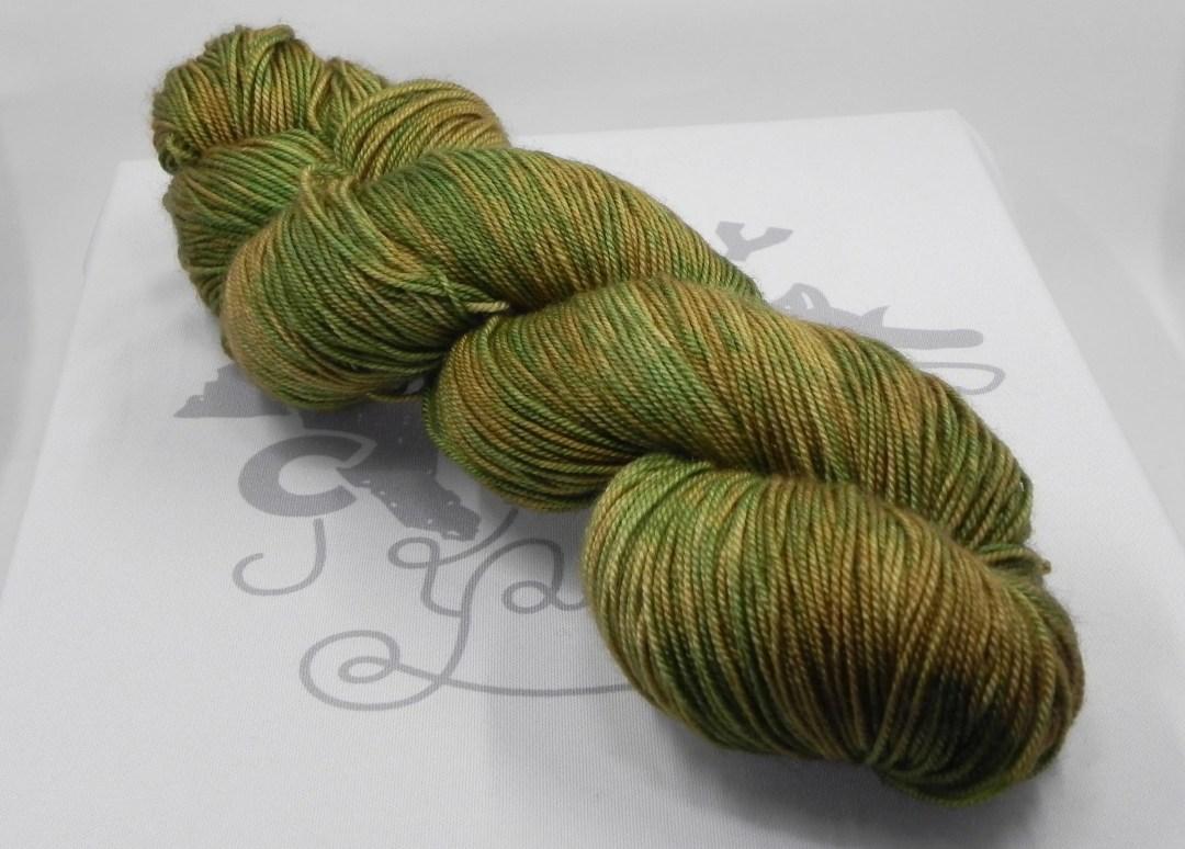 Dancing Baby Groot: 437 yards 70/20/10 Merino/Silk/Cashmere fingering weight yarn in Opulence yarn base.