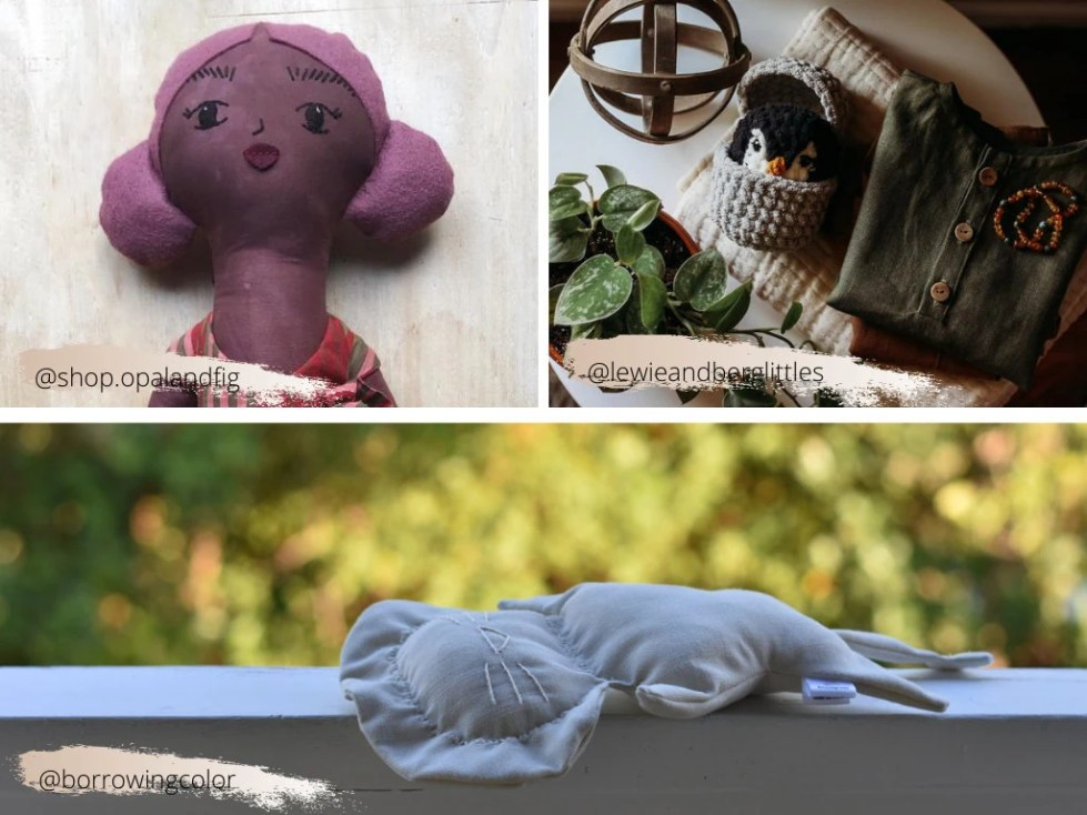 handmade doll, crocheted penguin, baby-friendly plush lion