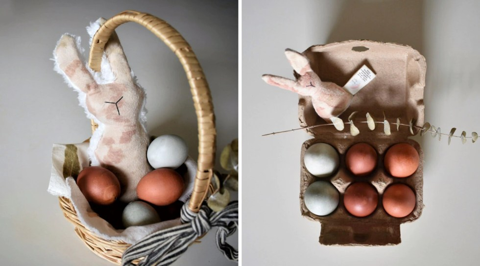 naturally dyed Easter eggs on display