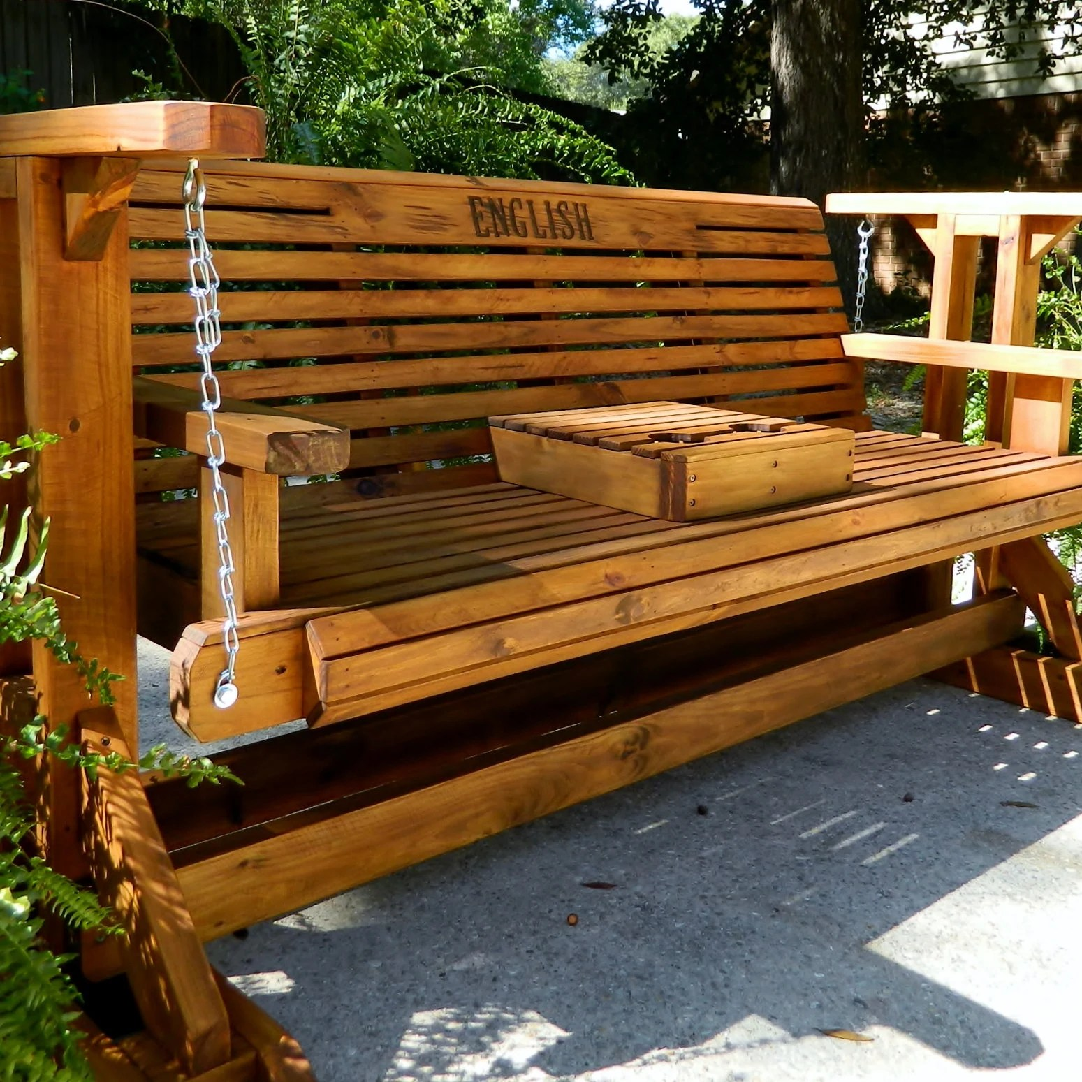 5ft glider swing with stand patio glider with cup holder patio furniture wood porch swing patio bench for garden memorial bench
