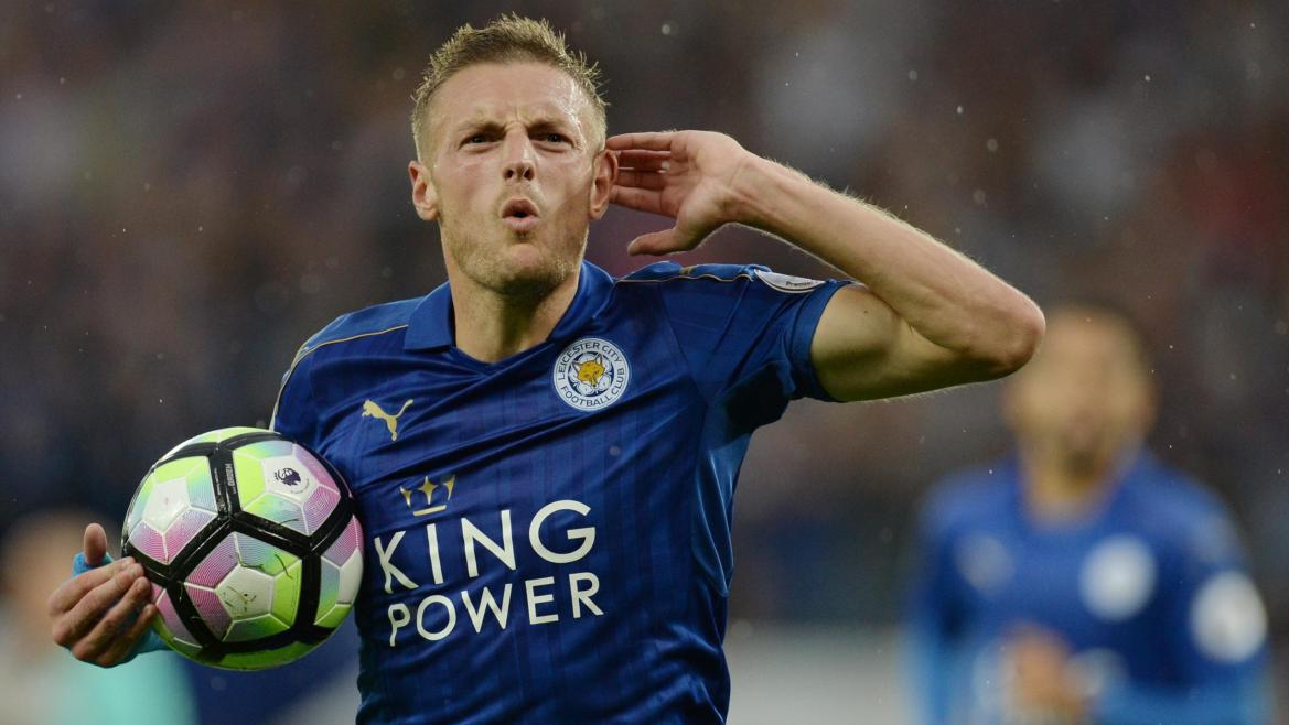 Leicester City's English striker Jamie Vardy