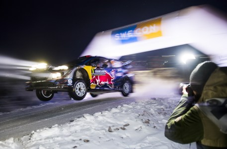 Sebastian Ogier lors du Rallye de Suède.