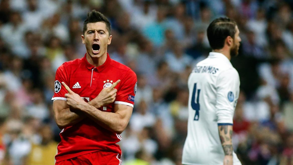 Bayern Munich's Polish forward Robert Lewandowski celebrates a goal
