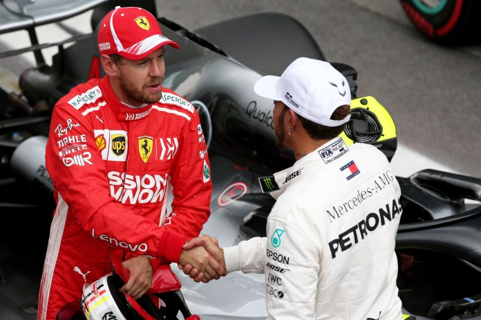 Sebastian Vettel (Ferrari) and Lewis Hamilton (Mercedes) at the 2018 Brazilian Grand Prix