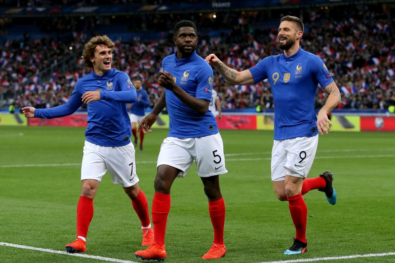 Antoine Griezmann, Samuel Umtiti et Olivier Giroud
