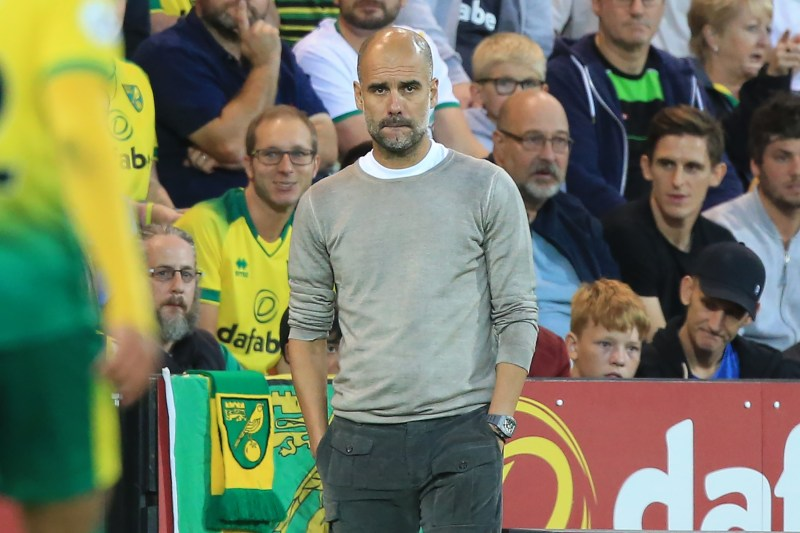 Manchester City manager Pep Guardiola at Carrow Road on September 14, 2019
