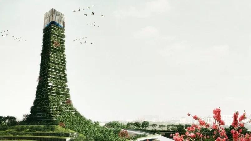 Le projet Hortitecture pour la ville de Chongqing: dans une ville en pleine croissance, ces bâtiments verts doivent évoquer les graines de demain.