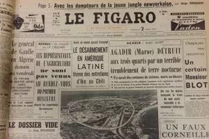 Photo aérienne du tremblement de terre d'Agadir parue dans Le Figaro du 2 mars 1960.