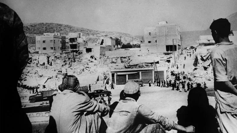 Des survivants du tremblement de terre d'Agadir en mars 1960.