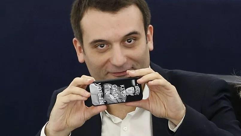 «Restez calme et votez FN» sur l'iPhone de Florian Philippot