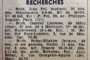 Avis de recherche parus dans l'édition du 13 juillet 1945 du <i>Figaro.</i>