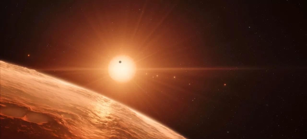 La surface d'une des planètes en orbite autour de Trappist, imaginée par l'Observatoire européen austral (ESO).
